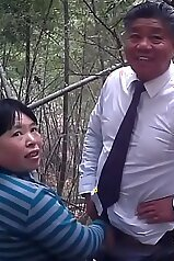 Chinese old lady fucks a slightly younger man
