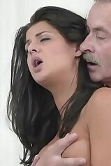 Old man drilling a brunette\'s tight little slit here