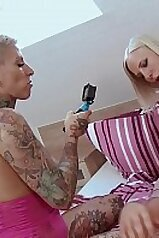 Threesome scene with lots of taboo fucking going on