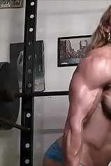 Muscle-bound female bodybuilder gets real freaky