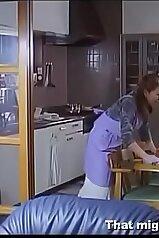 Japanese wife happily fucks a horny neighbor