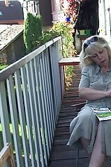 Mature lady gets fucked hard on the porch