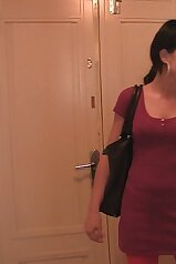 Brunette dressed in red busted cheating here