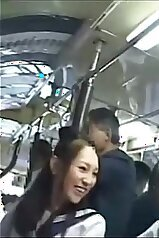 Groping and hot teasing for Asian teens in the bus