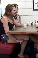 Dad\'s dick pleasured during a family dinner