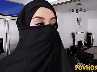 Muslim busty slut pov sucking and riding cock in burka